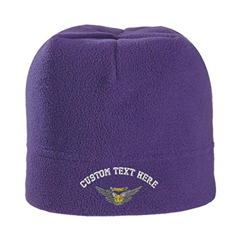Custom Text Embroidered Aircrew Medal Unisex Adult Polyester/Spandex Stretch Fleece Beanie Skully Hat - Purple, One (Air Medal Hat)