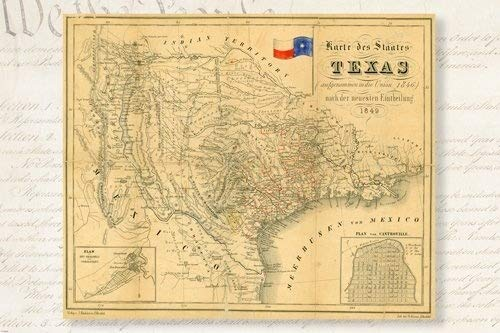 1849 HISTORIC MAP OF REPUBLIC OF TEXAS POSTER german topographic 24X36 (Texas Poster Map)