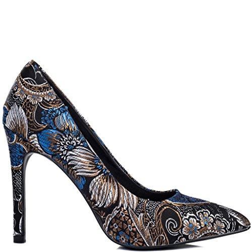 SPYLOVEBUY JOYCE Women's High Heel Stiletto Court Shoes Black Brocade 1AKfANFv