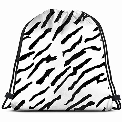 tiger skin pattern design fur vintage Lightweight Drawstring Bag Sport Gym Sack Bag Backpack 17X14 Inch