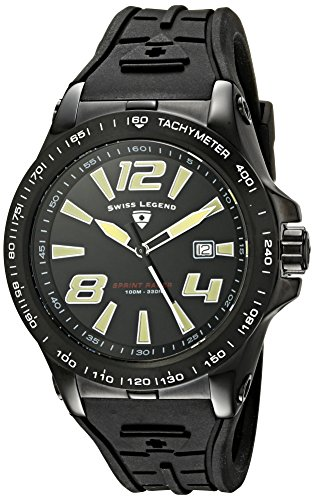 Swiss Legend Men's 10043-BB-01 Sprint Racer Black Dial Black Silicone Watch