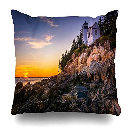 Ahawoso Throw Pillow Cover Water Blue Sky Bass Harbor Lighthouse Sunset Acadia at Travel in Park Maine Nature Atlantic Design Decor Zippered Cushion Case 20