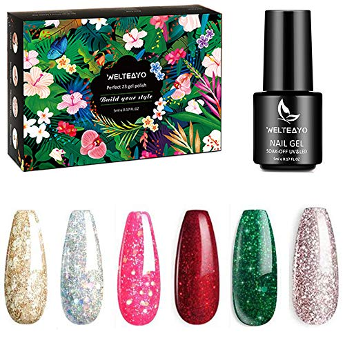 Gel Nail Polish Set,Valentines Day Series Glitter Gel Nail Polish Kit with 6 Colors, 8ml Each Bottle Gel Polish for Girlfriend & Wife,Nail Salon, DIY at Home