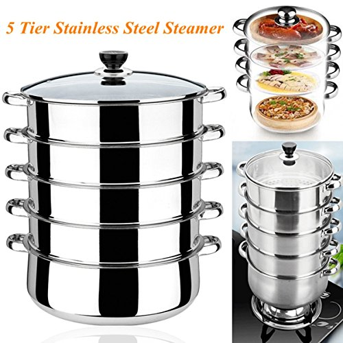 Katoot@ 5 Tier Stainless Steel Steamer Cook Tool INDUCTION Friendly Cookware 30cm Saucepan Pot Multi-layer Multi-function Large Capacity