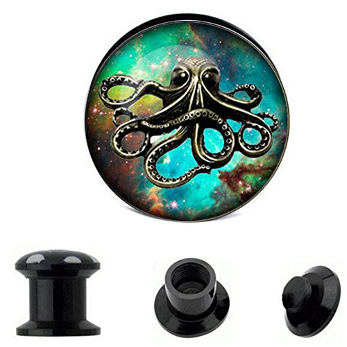 (Peki Black Acrylic Screw Fit Tunnel Plugs with Octopus Front Gauges Piercing(10mm=00g))