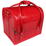 Glow Professional Faux Leather Make Up/ Beauty/ Cosmetic Case, Red - luggage
