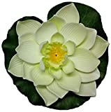 Floating Pond Decor Water Lily / Lotus Foam Flower, White 6 Pcs