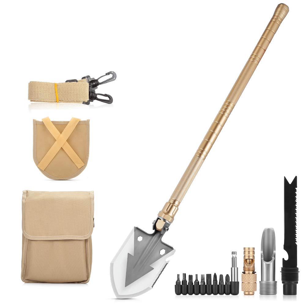 NACATIN Portable Folding Shovels, Tactical Military Collapsible Camping Shovel with Nylon Carrying Pouch and High Carbon Steel Handle, Compact and Multitool (Multitool Gold)