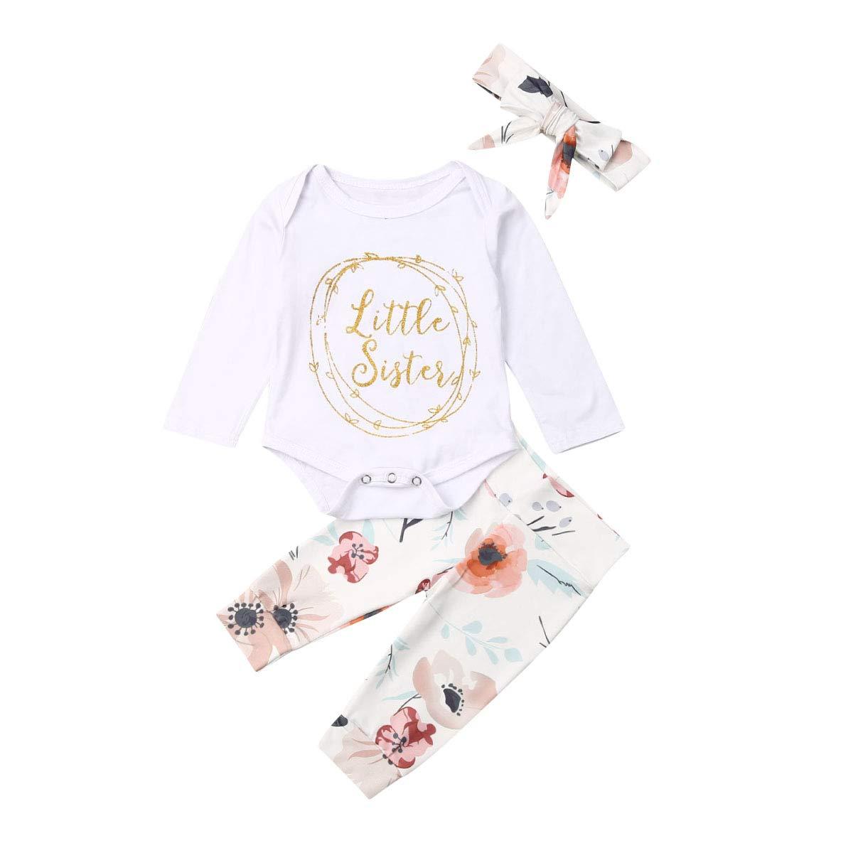 Hose Geagodelia Babykleidung Set Baby M/ädchen Kleidung Langarm Body Strampler Stirnband M/ütze Kleinkinder Neugeborene Warme Babyset Little Sister