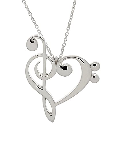 amazon com 925 sterling silver treble and bass clef heart pendant rh amazon com bass treble clef heart vector bass treble clef heart meaning