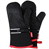 DEIK Oven Mitts, Heat Resistant Oven Gloves, Extra Long Silicon Oven Mitts, Non-Slip Baking Mitts for Cooking, Baking, BBQ, Camping, Black Potholders, 1 Pair