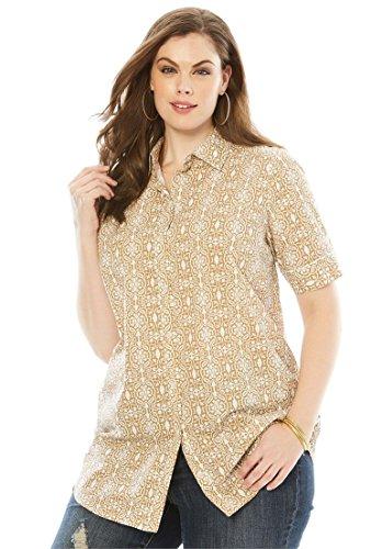 Roamans Womens Plus Size Kate Short Sleeve Shirt