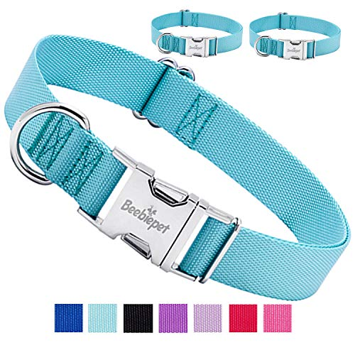 Beebiepet Classic Dog Collar with Strong Metal Buckle Adjustable Dog Collars for Small Medium Large Dogs (Collar+Collar…