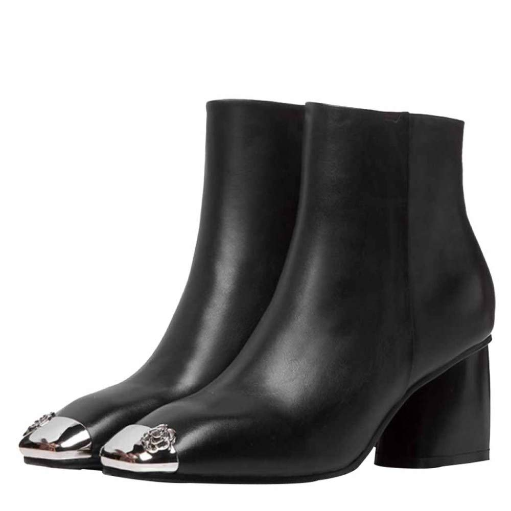 Damen Damen Martin Stiefel Herbst Leder Stiefeletten Platz Dicke High Heel Metall Kopf Slouchy Schuhe Winter Stiefelies