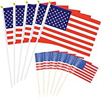 """Gtlzlz USA Stick Flag - 50 Pcs American US 5.5""""x8.3"""" Handheld Mini Flag with 200 Pcs American Flag Picks Flag Toothpicks Cocktail Sticks Cupcake Toppers for Sandwiches, Appetizers, Cupcake"""