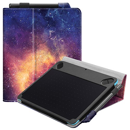 Fintie Folio Vegan Leather Case Stand Cover for Wacom Intuos Draw CTL-490DW CTL-490DB / Art CTH-490AK CTH-490AB / Comic CTH-490CK CTH-490CB / Photo CTH490PK Digital Drawing, Painting Tablet, Galaxy