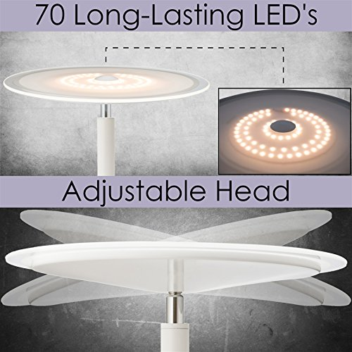 Kira Home Horizon 70'' Modern LED Torchiere Floor Lamp (36W, 300W eq.), Glass Diffuser, Dimmable, Timer and Wall Switch Compatible, Adjustable Head, 3000k Warm White Light, White Finish by Kira Home (Image #2)