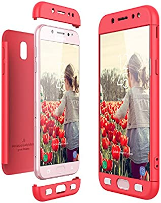 b37c72f02c0 CE-Link Funda Samsung Galaxy J5 2017, Carcasa Fundas para Samsung Galaxy J5  2017, 3 en 1 Desmontable Ultra-Delgado Anti-Arañazos Case Protectora -  Rojo/Red