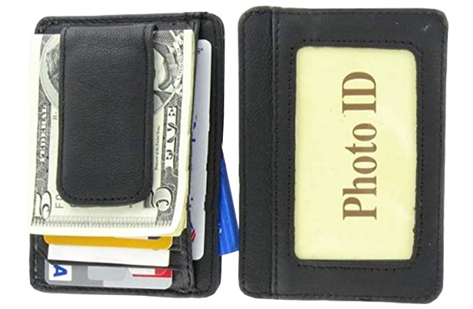 6f8cccad8bb1 Mens Leather Wallet Money Clip Credit Card ID Holder Front Pocket Thin Slim  NEW Black