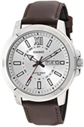 Casio MTP-X100L-7AV Men's Brown Leather Watch, Day/Date (Large)