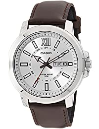 MTP-X100L-7AV Men's Brown Leather Watch, Day/Date (Large)