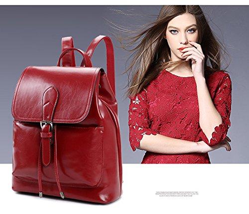 WTUS Mujer moda de la cera y aceite de superficie brillante estilo clásico salvaje de ocio mochila Bolsas Rojo