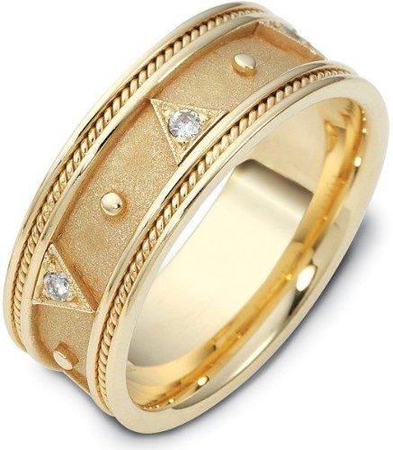 Designer 14 Karat Yellow Gold Etruscan Style Diamond Wedding Band Ring - 12.5 - Etruscan Yellow Ring