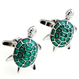 Covink® Cute Beautiful Green Turtle Figure Men's French Suit Sleeves Buttons Cufflinks for Wedding Party