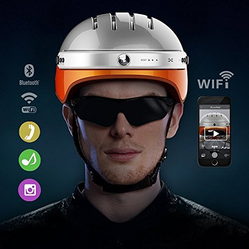 (Airwheel C5 Intelligent Helmet with Front Camera and Bluetooth Speaker for Cycling, Mounting, Skateboarding (White Orange, Large))