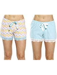 Womans Cotton Pajama Shorts - Solid & Print w/Satin trim...