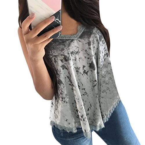Womens Tank Tops,YKA,Womens Tops,Girl Lace Camisole Strappy Vest Shirt Blouse Pullover For Ladies (L, Gray) ()