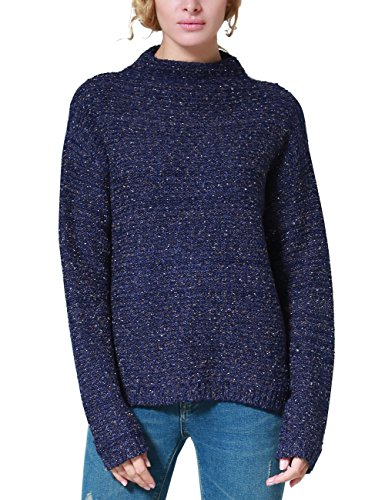 Rocorose Women's High-low Marled Boucle Mock Neck Sweater Jumpers Blue XL