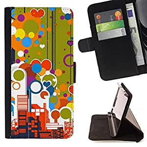 DEVIL CASE - FOR Samsung ALPHA G850 - Big City Skyscrapers View Love Balloons Colorful - Style PU Leather Case Wallet Flip Stand Flap Closure Cover