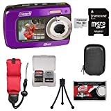 Coleman Duo2 2V8WP Dual Screen Shock & Waterproof Digital Camera (Purple) with 16GB Card + Case + Floating Strap + Tripod + Kit