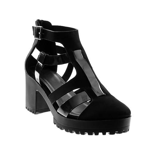 Angkorly Zapatillas Moda Sandalias Botines Bimaterial Gladiator Plataforma Mujer Hebilla Multi-Correa Patentes Tacón Ancho Alto 7.5 cm: Amazon.es: Zapatos y ...