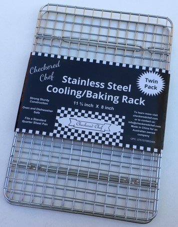 Checkered Chef Cooling Racks For Baking - Quarter Size - Stainless Steel Cooling Rack/Baking Rack Set of 2 - Oven Safe Wire Racks Fit Quarter Sheet Pan - Small Grid Perfect To Cool and Bake by Checkered Chef (Image #2)