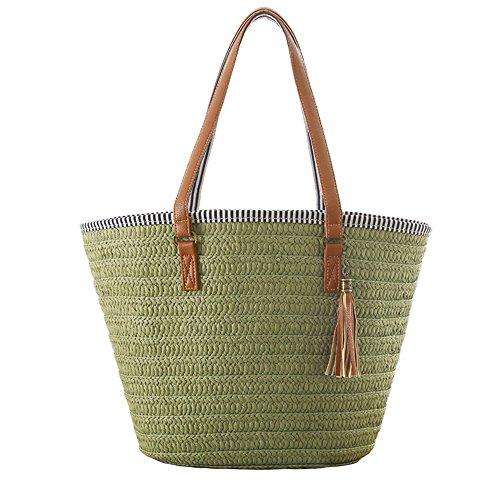(Women Straw Beach Bag Handbags Shoulder Bag Tote,Cotton Lining,PU Leather Handle)