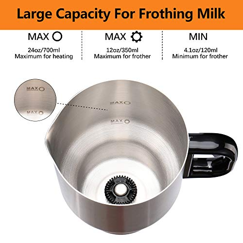 Revelux Milk Frother- 24oz Large Milk Frother Electric,Easy Clean Stainless Steel Jug, Cold and Hot Milk Frother, Dishwasher Safe, Automatic Milk Frother for Coffee, Cappuccino, Latte, Almond, Hot Chocolate, Matcha by Revelux (Image #3)