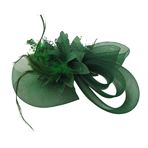Auranso Flax Netting Feather Flower Beaded Headband With Hair Clip Hairpin For Tea Party Dress Up Fascinator (Green Hat Pin)