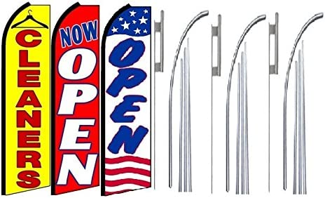 Cleaners Now Open Open King Swooper Feather Flag Sign Kit with Pole and Ground Spike Pack of 3