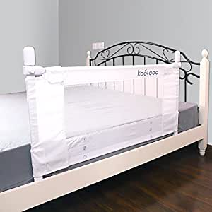 "KOOLDOO 43"" Vertical Lift Toodler Safety Bed Rail Children Bed Guard with NBR Foam Include 1Pc Seat Belt (White)"