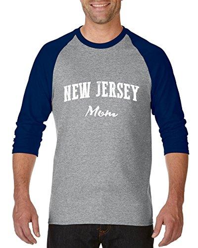 NIB NJ Mom New Jersey Flag Newark Map Tigers Home Of Princeton Raglan Sleeve Baseball ()