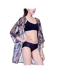 JulyLady Women's Swimsuit Cover up Chiffon Floral Print Kimono Cardigan Beachwear