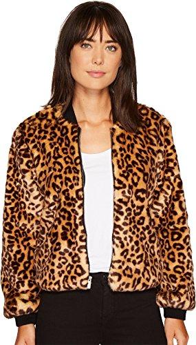 Splendid Women's Leopard Faux Fur Bomber Jacket, Tank, (Splendid Leopard)