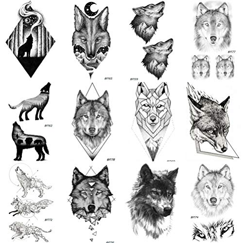 12 Pieces/Lot COKTAK Realistic 3D Temporary Tattoos Stickers Men Black Body Art Arm Wolf Totem Fake Waterproof Tattoos Women Sexy Tatoos Paste 10x6CM