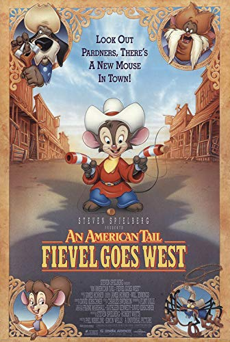 AN AMERICAN TAIL: FIEVEL GOES WEST (1991) Original Authentic Movie Poster - 27x41 One Sheet - Double-Sided - FOLDED - James Stewart - Erica Yohn - Cathy Cavadini