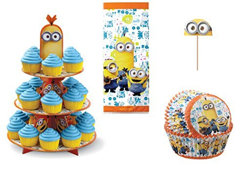 Wilton Despicable Me Minion Cupcake Decorating Bundle - 4 Items: Treat Stand, Cupcake Liners, Fun Pix Cupcake Toppers and Treat Bags -