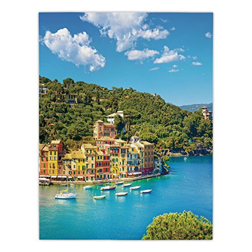 (Polyester Rectangular Tablecloth,Italy,Portofino Landmark Aerial Panoramic View Village and Yacht Little Bay Harbor Decorative,Blue Green Yellow,Dining Room Kitchen Picnic Table Cloth Cover,for)