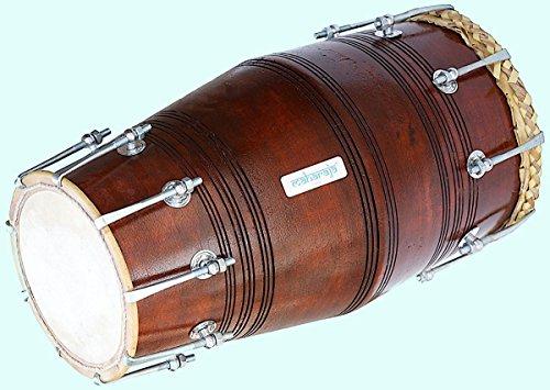 Global Art World Gajra Dholak (Dholki) Made Of Mango Wood, Bolt-tuned, with Tuning Spanner (PDI-BGA) MI 018 by Global Art World