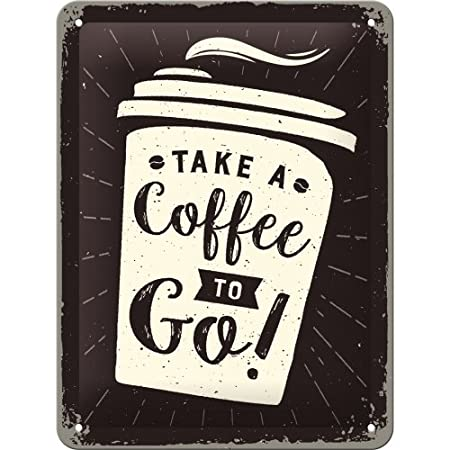 Nostalgic-Art 26228 Coffee to go | Retro Cartel de Chapa | Vintage de Cartel, decoración de Pared, Metal, 15 x 20 cm, 15 x 20 x 0.2 cm